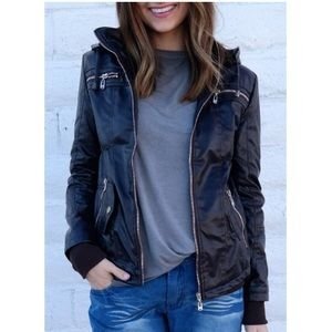 Chic Hooded Faux Leather Jacket